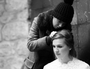 Winter wedding photography hair styling